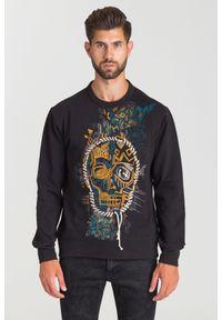 Czarna bluza Just Cavalli w kolorowe wzory, z okrągłym kołnierzem