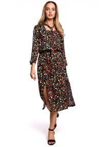 MOE - Elegancka sukienka midi w kwiaty. Materiał: tkanina. Wzór: kwiaty. Styl: elegancki. Długość: midi