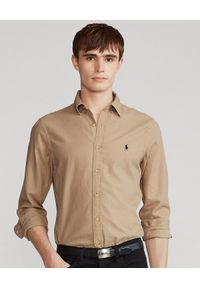Ralph Lauren - RALPH LAUREN - Beżowa koszula z logo Slim Fit Dobby. Typ kołnierza: polo. Kolor: beżowy. Materiał: bawełna. Długość rękawa: długi rękaw. Długość: długie. Wzór: haft. Styl: klasyczny
