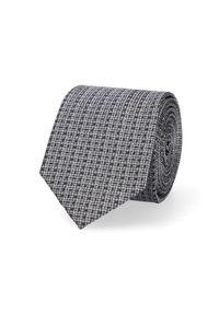 Lancerto - Krawat Szary w Mikrowzór. Kolor: szary. Materiał: mikrofibra, materiał. Styl: elegancki