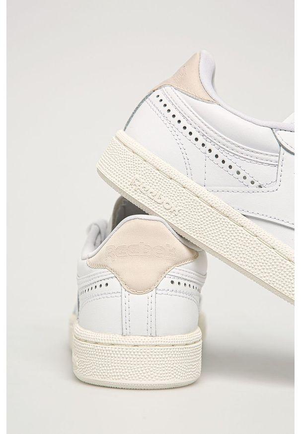 Białe buty sportowe Reebok Classic z cholewką, Reebok Classic, z okrągłym noskiem, na sznurówki