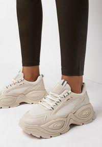 Born2be - Beżowe Sneakersy Chionenia. Wysokość cholewki: przed kostkę. Nosek buta: okrągły. Kolor: beżowy. Materiał: materiał. Szerokość cholewki: normalna. Wzór: jednolity, aplikacja