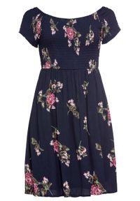 Niebieska sukienka bonprix z kołnierzem typu carmen, w kwiaty, na lato