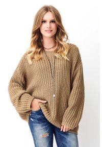 Brązowy sweter oversize Makadamia