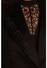 Czarny płaszcz Guess Jeans bez kaptura, na co dzień, klasyczny