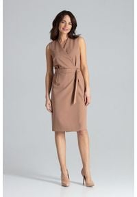 e-margeritka - Sukienka kopertowa elegancka brązowa - xl. Okazja: do pracy. Kolor: brązowy. Materiał: poliester, wiskoza, materiał. Długość rękawa: bez rękawów. Typ sukienki: kopertowe. Styl: elegancki. Długość: midi