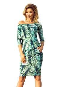 Numoco - Sukienka Ściągana w Zielone Liście na Ciemnym Tle. Kolor: zielony. Materiał: wiskoza, elastan