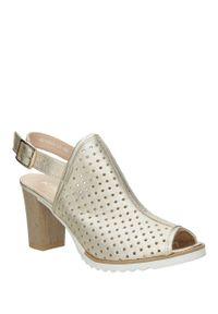 Złote sandały Karino w kolorowe wzory, eleganckie, na lato