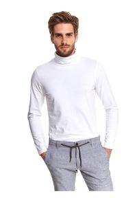 Biały t-shirt TOP SECRET długi, z długim rękawem