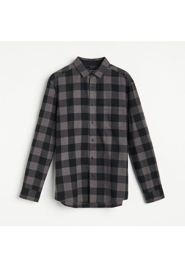 Reserved - Bawełniana koszula w kratę - Szary. Kolor: szary. Materiał: bawełna