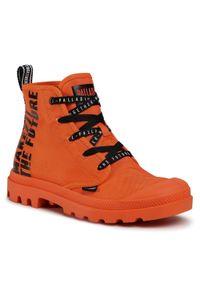 Pomarańczowe buty zimowe Palladium z cholewką