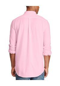 Ralph Lauren - RALPH LAUREN - Różowa koszula Mesh Custom Fit. Typ kołnierza: polo. Kolor: różowy, wielokolorowy, fioletowy. Materiał: mesh. Długość rękawa: długi rękaw. Długość: długie. Wzór: haft. Styl: klasyczny
