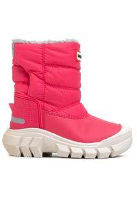 Różowe buty zimowe Hunter z cholewką