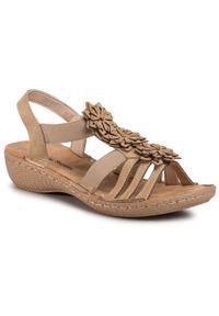Brązowe sandały Clara Barson z aplikacjami