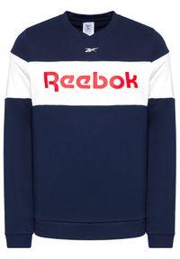 Reebok Bluza Essentials Linear Logo GJ0519 Granatowy Sllim Fit. Kolor: niebieski