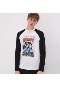 Biały t-shirt Sinsay z motywem z bajki, długi, z długim rękawem