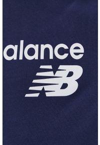New Balance - Bluza. Kolor: niebieski. Materiał: dzianina. Wzór: nadruk