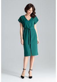 Sukienka prosta, z krótkim rękawem, elegancka, na co dzień