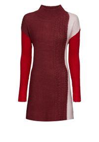 Czerwony sweter bonprix ze stójką, melanż