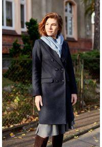 Marie Zélie - Płaszcz wełniany Debora granatowy. Kolor: niebieski. Materiał: wełna. Wzór: motyw zwierzęcy. Sezon: zima. Styl: klasyczny #8