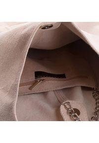 Różowa torebka klasyczna Creole klasyczna, zamszowa