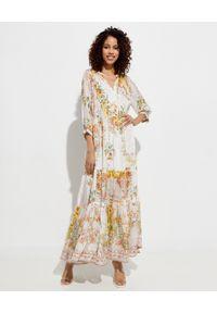 Camilla - CAMILLA - Jedwabna sukienka maxi. Kolor: żółty. Materiał: jedwab. Wzór: kwiaty, aplikacja. Typ sukienki: rozkloszowane. Styl: boho, elegancki. Długość: maxi