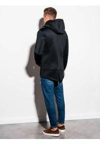 Ombre Clothing - Płaszcz męski z kapturem C200 - czarny - XL. Typ kołnierza: kaptur. Kolor: czarny. Materiał: dzianina, poliester #3