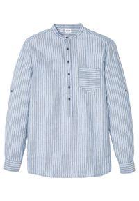 Koszula z długim rękawem, len z TENCEL ™ bonprix niebieski dżins - biel wełny w paski. Kolor: niebieski. Materiał: len, wełna. Długość rękawa: długi rękaw. Długość: długie. Wzór: paski