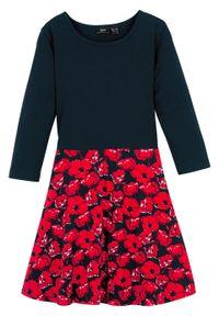 Czarna sukienka bonprix z długim rękawem, w kwiaty