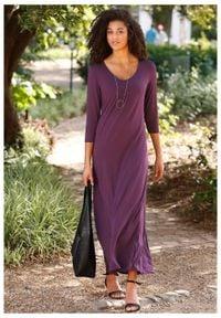 Długa sukienka ze stretchem, o linii litery A, rękawy 3/4 bonprix czarny bez. Kolor: fioletowy. Długość: maxi