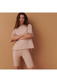 Reserved - Dwuczęściowa piżama z bawełny organicznej - Kremowy. Kolor: kremowy. Materiał: bawełna