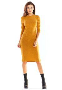 Awama - Kamelowa Ołówkowa Sukienka Midi z Prążkowanej Dzianiny. Materiał: dzianina, prążkowany. Typ sukienki: ołówkowe. Długość: midi