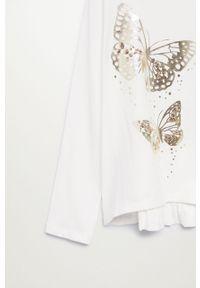 Biała bluzka z długim rękawem Mango Kids z aplikacjami, długa