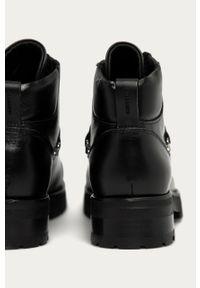 Czarne botki AllSaints z okrągłym noskiem, z cholewką, na sznurówki