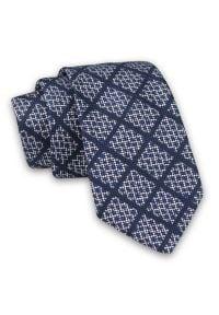Alties - Granatowy Elegancki Męski Krawat w Kratkę -ALTIES- 7cm, Stylowy, Klasyczny. Kolor: niebieski. Materiał: tkanina. Wzór: kratka. Styl: klasyczny, elegancki