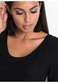 Sukienka dzianinowa w paski bonprix czarno-biel wełny. Kolor: czarny. Materiał: dzianina, wełna, poliester, wiskoza, materiał. Wzór: paski
