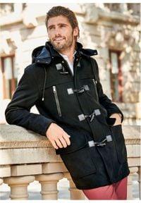 Płaszcz budrysówka z materiału w optyce wełny bonprix czarny. Typ kołnierza: kaptur. Kolor: czarny. Materiał: elastan, poliester, materiał, wełna, wiskoza. Styl: klasyczny