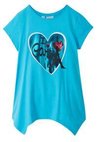 Shirt dziewczęcy z dłuższymi bokami bonprix karaibski niebieski. Kolor: niebieski. Długość: długie