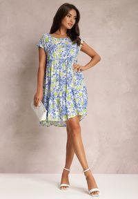 Renee - Niebieska Sukienka Agenneg. Kolor: niebieski. Materiał: tkanina, wiskoza. Długość rękawa: krótki rękaw. Wzór: kwiaty, kolorowy. Długość: mini