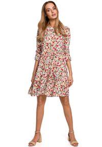 e-margeritka - Sukienka trapezowa odcięta w pasie - l. Materiał: wiskoza, materiał. Typ sukienki: trapezowe