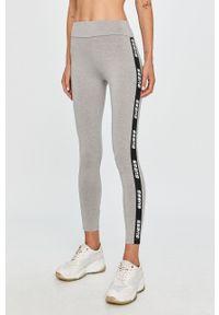 Szare legginsy Guess Jeans z podwyższonym stanem, z aplikacjami