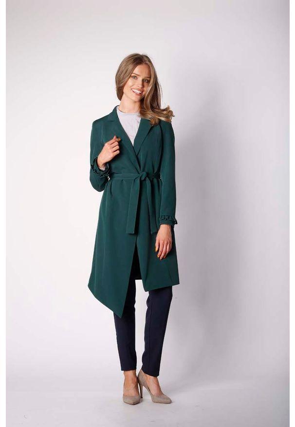 Nommo - Zielony Elegancki Płaszcz z Falbanką na Rękawie. Kolor: zielony. Materiał: poliester, wiskoza, wełna. Styl: elegancki