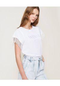 Biały t-shirt TwinSet w koronkowe wzory, z krótkim rękawem, casualowy