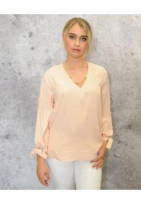 CRISTINAEFFE - Koszula z jedwabiu. Kolor: różowy, fioletowy, wielokolorowy. Materiał: jedwab. Długość rękawa: długi rękaw. Długość: długie. Wzór: aplikacja. Styl: klasyczny