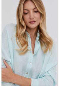 Answear Lab - Koszula bawełniana. Kolor: niebieski. Materiał: bawełna. Wzór: gładki. Styl: wakacyjny