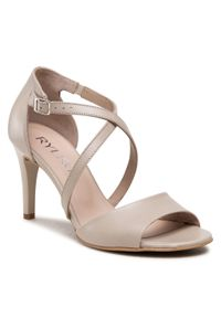 Beżowe sandały z aplikacjami, na średnim obcasie, eleganckie