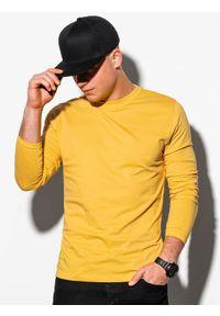 Ombre Clothing - Longsleeve męski bez nadruku L118 - żółty - XXL. Typ kołnierza: kaptur. Kolor: żółty. Materiał: bawełna. Długość rękawa: długi rękaw. Styl: klasyczny