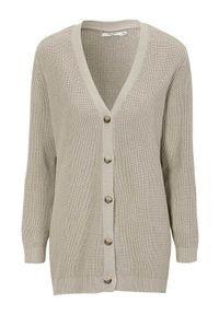 Cellbes Rozpinany sweter z bawełny szary female szary 62/64. Okazja: na co dzień. Typ kołnierza: dekolt w kształcie V. Kolor: szary. Materiał: bawełna. Długość: długie. Wzór: melanż. Styl: casual