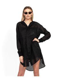 ROBERT KUPISZ - Czarna koszula ORIENT HOOD. Kolor: czarny. Materiał: bawełna. Długość rękawa: długi rękaw. Długość: długie. Wzór: nadruk. Styl: klasyczny