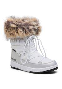 Białe buty zimowe Moon Boot na spacer, z cholewką, z aplikacjami